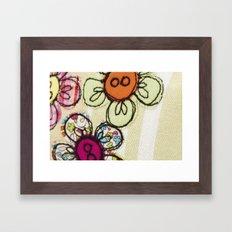 Embroidered Flowers Green Framed Art Print