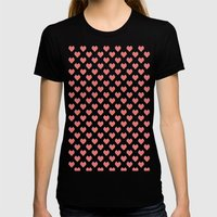 Pixel Hearts Womens Fitted Tee Black SMALL