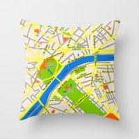 Paris Map Design Throw Pillow