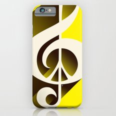 Yellow Retro Shadow Music & Peace iPhone 6 Slim Case