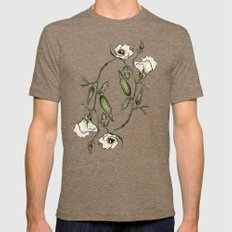 Botanical Okra Mens Fitted Tee Tri-Coffee SMALL