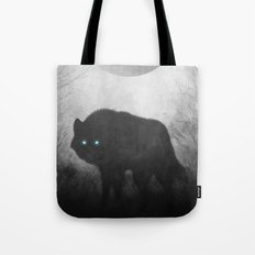 Black and White Wolf Moon Silhouette  Tote Bag