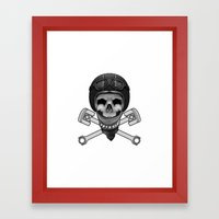 Vintage Bike Rider Framed Art Print