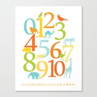 Animal Numbers -  Sandbo… Canvas Print