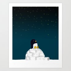 Star gazing - Penguin's dream of flying Art Print