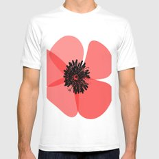 Red Poppy Flower SMALL White Mens Fitted Tee