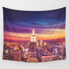 New York City Dusk Sunset Wall Tapestry