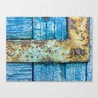 Rotten blue shutter detail Canvas Print