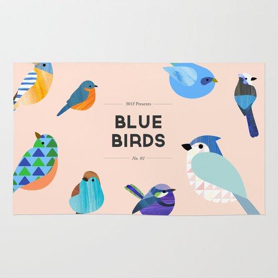 Blue Birds Area & Throw Rug