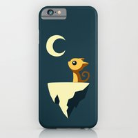 yellow iPhone & iPod Cases featuring Moon Cat by Freeminds