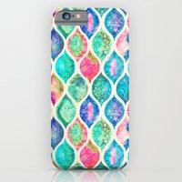 iPhone Cases featuring Watercolor Ogee Patchwork Pattern by micklyn