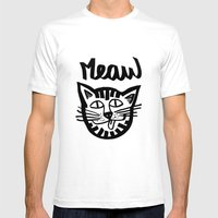 CAT MEAW FACE Mens Fitted Tee White SMALL