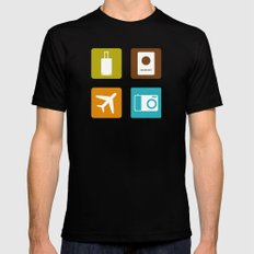 Travel Icons SMALL Mens Fitted Tee Black