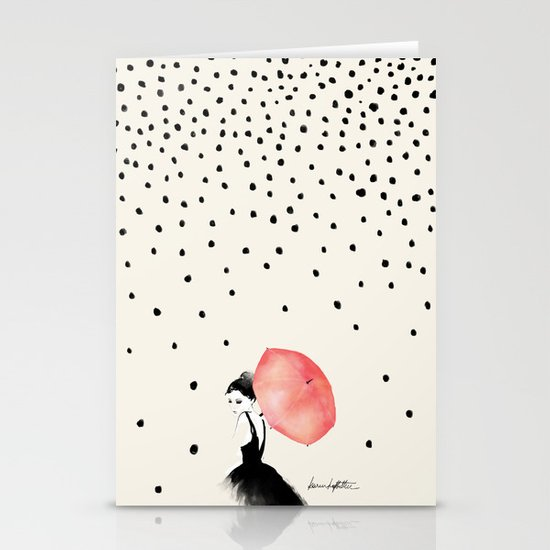 Polka Rain Stationery Card