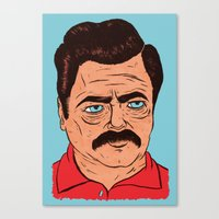 Ron Swanson (color) Canvas Print