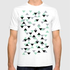 Triangles Mint Grey Mens Fitted Tee SMALL White