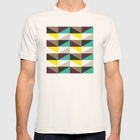 Yellow, purple, turquoise triangle pattern Mens Fitted Tee Natural SMALL