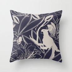 Cockatoo Evening Blue Throw Pillow