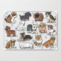 Puppies, more than a dozen.  Canvas Print