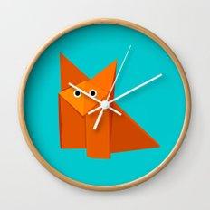 Cute Origami Fox Wall Clock