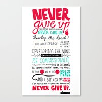 Never Give Up - Dalai La… Canvas Print