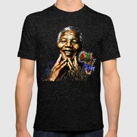 Nelson Mandela Mens Fitted Tee Tri-Black SMALL