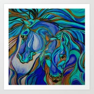 Wild Horses In Brown And… Art Print
