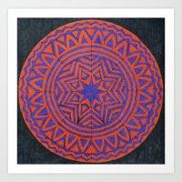 Purple & Orange Mandala Art Print