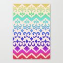 Ikat Rainbow Harmony on Cream Canvas Print