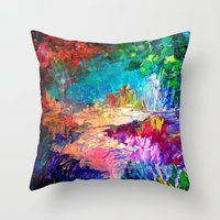 WELCOME TO UTOPIA Bold Rainbow Multicolor Abstract Painting Forest Nature Whimsical Fantasy Fine Art Throw Pillow