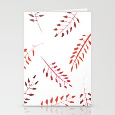 Red Leaves Pattern Stationery Cards