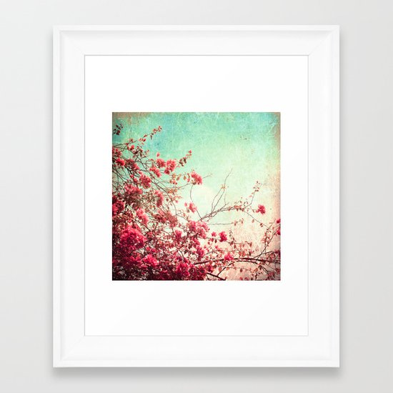 Pink Flowers on a Textured Blue Sky (Vintage Flower Photography) Framed Art Print