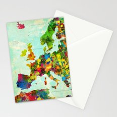 Europe Splatter Map Stationery Cards