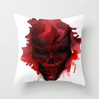 Red Skull Throw Pillow