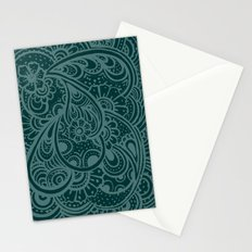 Teal Paisley Stationery Cards