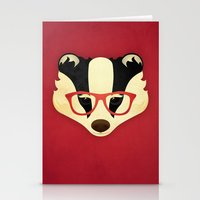 Hipster Badger: Red Stationery Cards