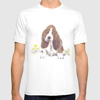 Basset Hound Mens Fitted Tee White SMALL