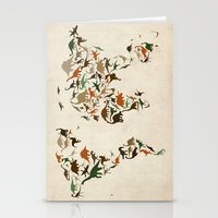 Dinosaur Map of the World Map Stationery Cards