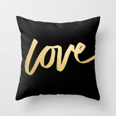 Love Gold Black Type Throw Pillow