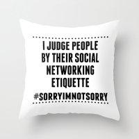 Social Networking Etiquette Throw Pillow