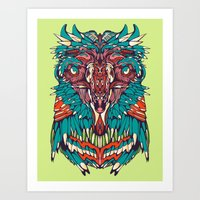Neon Screaming Eagle Art Print