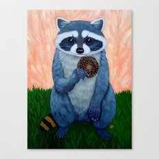 RACCOON WITH DONUT Canvas Print