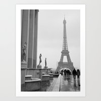 Eiffel Tower On A Snowy … Art Print