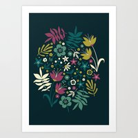 Midnight Florals (pop) Art Print