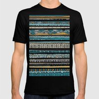 Duck egg and Gold Mens Fitted Tee Black SMALL
