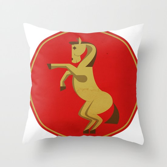 Badass Horse - Chinese Zodiac Throw Pillow