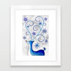 Snowflake Stag Framed Art Print