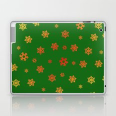 Snowflakes (Red & Gold on Green) Laptop & iPad Skin