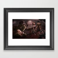 Down at the Dive Framed Art Print