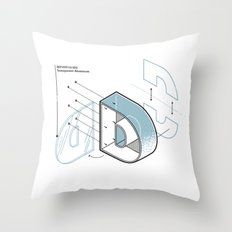 The Exploded Alphabet / D Throw Pillow
